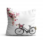 Bisiklet Desenli Dijital Baskılı Dekoratif Kırlent Kılıfı Bf05