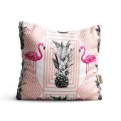 Flamingo Desenli Dijital Baskılı Dekoratif Kırlent Kılıfı Flm16