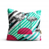 Flamingo Desenli Dijital Baskılı Dekoratif Kırlent Kılıfı Flm18