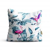 Flamingo Desenli Dijital Baskılı Dekoratif Kırlent Kılıfı Flm25