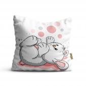 Tavşan Desenli Dijital Baskılı Dekoratif Kırlent Kılıfı Krm76