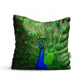 Tavus Kuşu Desenli Dijital Baskılı Dekoratif Kırlent Kılıfı Krm90