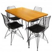 Viluxe Tel Ayaklı Ahşap Masa Sandalye Takımı Ceviz Mutfak, Ofis, Bahçe -2