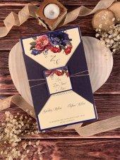 Kraft Çiçekli İplikli Düğün Ve Nişan Davetiyesi 100 Adet