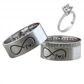 Taşlı Gümüş Çift Alyans Yüzük Tek Taş Hediyeli DN5112