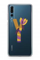 Huawei P20 Pro Kılıf Silikon Arka Kapak Koruyucu Y Harfi Çiçekli