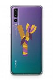 Huawei P20 Pro Kılıf Silikon Arka Kapak Koruyucu Y Harfi Çiçekli -2