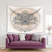 Lotus Çiçekli Mandala Desen Lacivert Duvar...