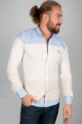 Deepsea Beyaz Mavi Çift Renk Uzun Kol Erkek Gömlek 2005105