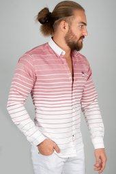 Deepsea Beyaz Bordo Çift Renk Uzun Kol Erkek Gömlek 2005112