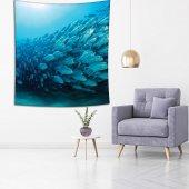 Okyanus Balık Deseni Mavi Duvar Örtüsü-4