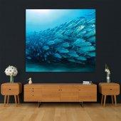 Okyanus Balık Deseni Mavi Duvar Örtüsü-5