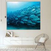 Okyanus Balık Deseni Mavi Duvar Örtüsü-6