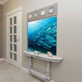 Okyanus Balık Deseni Mavi Duvar Örtüsü-7