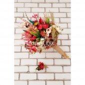 Sanya Şakayık Güller ve Kuru Çiçek Gelin Buketi 2li Set-2