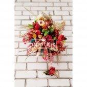 Sanya Şakayık Güller ve Kuru Çiçek Gelin Buketi 2li Set-3