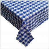 Zeren Home Kareli Mutfak Masa Örtüsü Mavi 140cm X 180cm