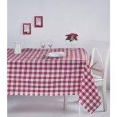Zeren Home Kareli Mutfak Masa Örtüsü Kırmızı 140cm X 160cm