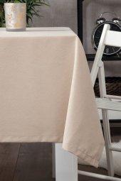 Zeren Home Dertsiz Düz Mutfak Masa Örtüsü Sütlü Kahve 140cm X 160cm