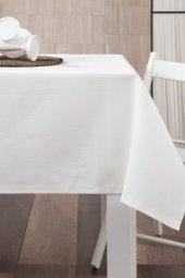 Zeren Home Dertsiz Düz Mutfak Masa Örtüsü Beyaz 130cm X 160cm