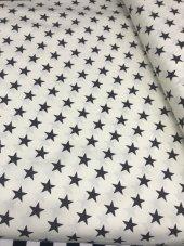Zeren Home Beyaz Zemin Siyah Yıldızlar Dertsiz Mutfak Masa Örtüsü 150cm X 250cm