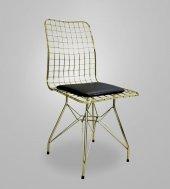 Chic Life Metal Ayaklı MDF Gold Masa ve 4 lü Tel Sandalye Takımı-5
