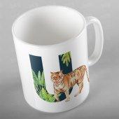 Tropikal Desenli İsme Kişiye Özel U Harfi Kupa Bardak Alf018