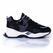 Palet Kadın Günlük Spor Ayakkabı Simli Siyah