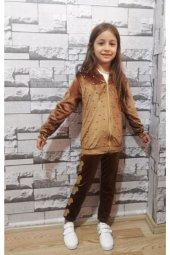 Kız Çocuk Kahverengi Kadife Takım
