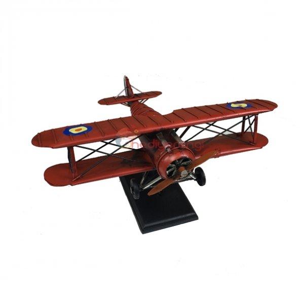 Nostaljik Çift Kanatlı Metal Uçak Maketi Büyük Boy Model Uçak