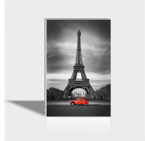 60x90 cm Eyfel ve Kırmızı Araba Canvas Tablo