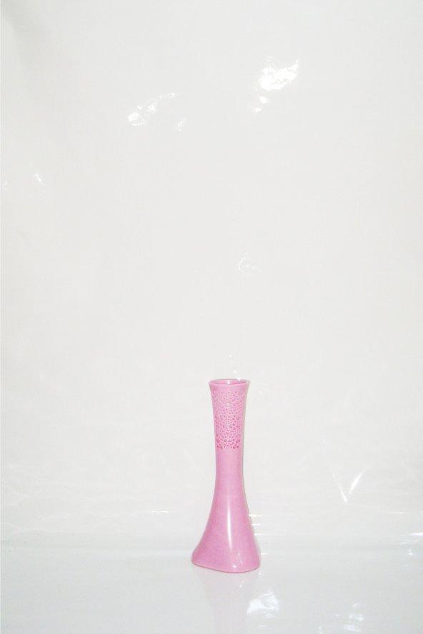 40 cm Pembe İşlemeli Fil Ayağı Uzun Vazo