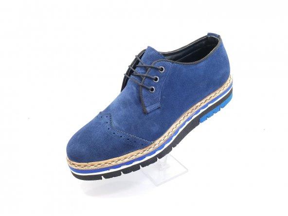 New Prato Erkek Ayakkabı 101-Saks Mavisi Süet Deri