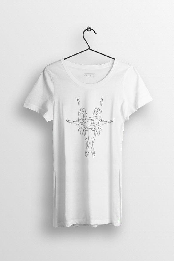 Balerin Kızlar Baskılı Yırtmaçlı Oversize Kadın Tshirt