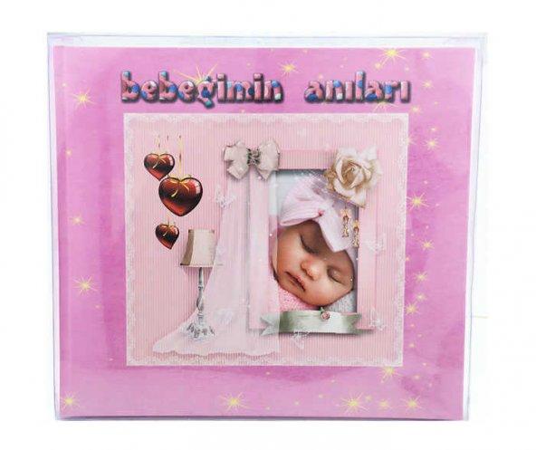 Asetat Kutulu Günce Günlük Bebek Güncesi Beşikte Uyuyan Pembe  ( 30 cm * 27 cm) ( 36 Sayfa)