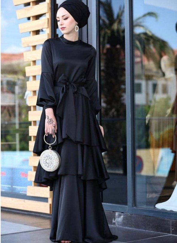 Siyah Abiye elbise SİYAH - 40