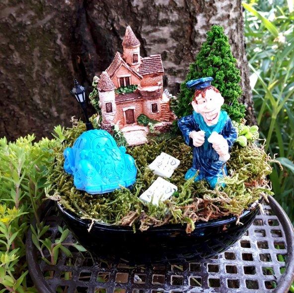 Mezun Olan Genç Erkek Minyatür Bahçe