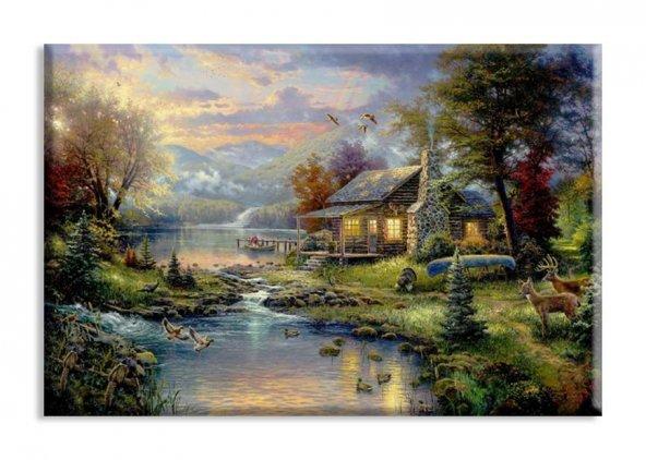 Nehirde Ev Yağlıboya Reproduksiyon Yatay Kanvas Tablo 80 x 125 cm