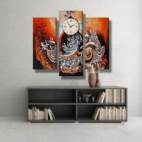 3 Parçalı Saatli Kanvas Tablo - dini kanvas  tablolar BÜYÜK BOY