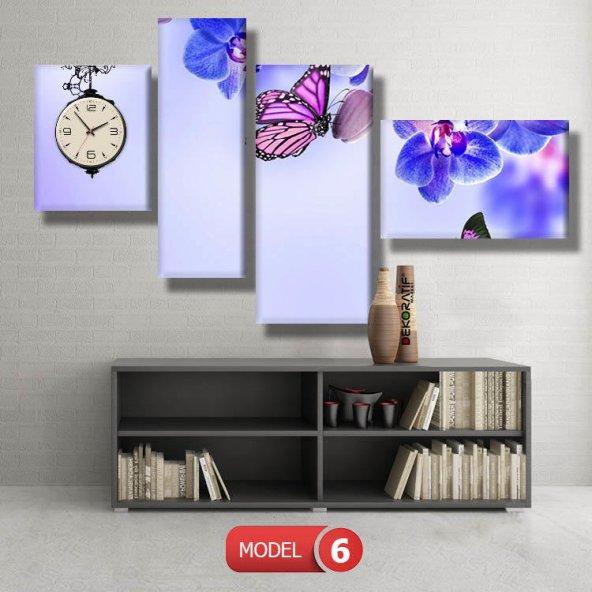 kelebek tablosu- saatli kanvas tablo MODEL 2 - 129x75 cm