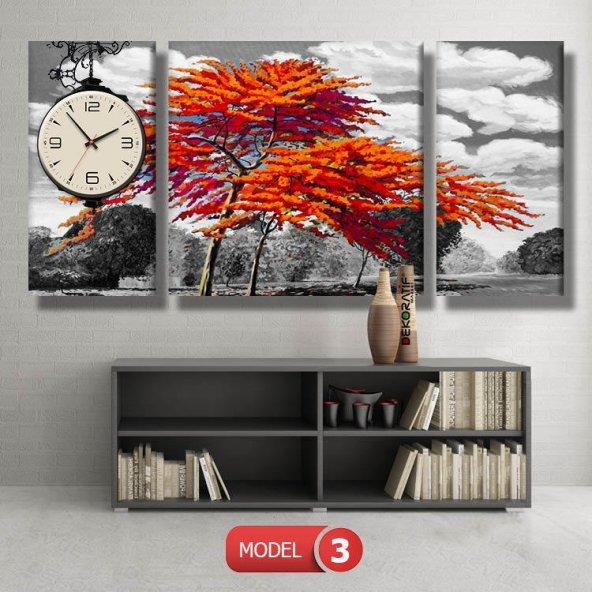 kırmızı ağaç-siyah beyaz tablolar- saatli kanvas tablo MODEL 1 - 162x75 cm
