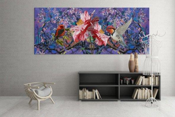 Mor Renk Kuşlu Tablo 60 cm x 120 cm