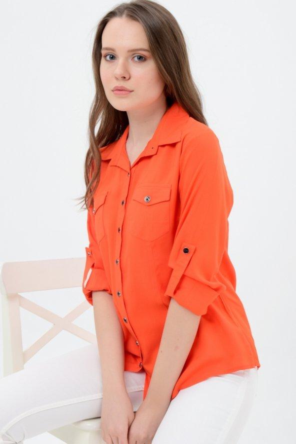 Büyük beden turuncu gömlek 4315-4