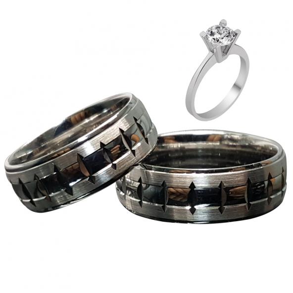 Taşsız Gümüş Çift Alyans Yüzük Tek Taş Hediyeli DN5069