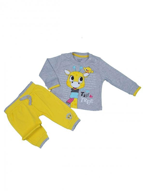 Kız Bebek Giyim Zürafa Modelli İkili Takım 9-24 Ay Gri - C73732-2
