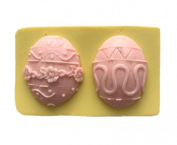 Desenli Paskalya Yumurtası Şeklinde Silikon Pasta ve Seker Hamuru Kalibi 5x4x1 cm