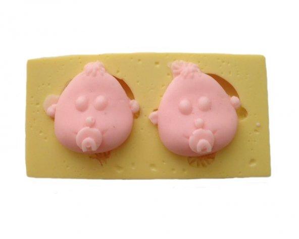 Emzikli Bebek Kafası 2 Parça Silikon Pasta ve Seker Hamuru Kalibi 3,5x3,5x3 cm