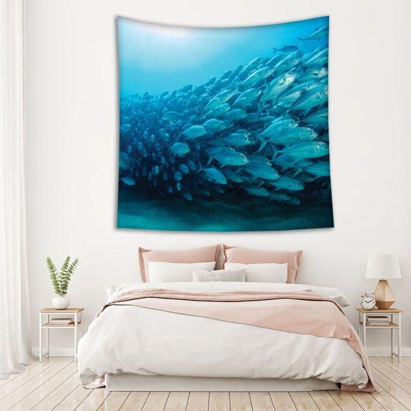 Okyanus Balık Deseni Mavi Duvar Örtüsü
