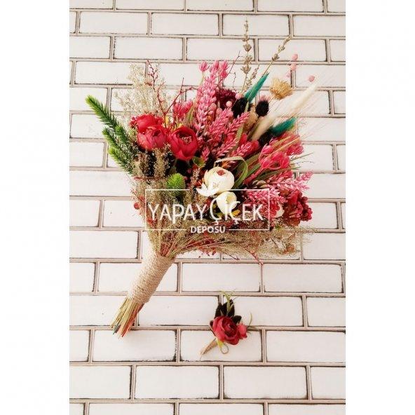Sanya Şakayık Güller ve Kuru Çiçek Gelin Buketi 2li Set