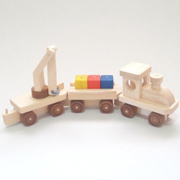 Küplü Ahşap Eğitici Oyuncak Tren Renkli